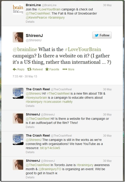 Twitter Convo LoveYrBrain 30 May 2013