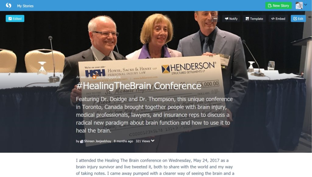 Storify Screenshot Healing the Brain Conference 24 May 2017