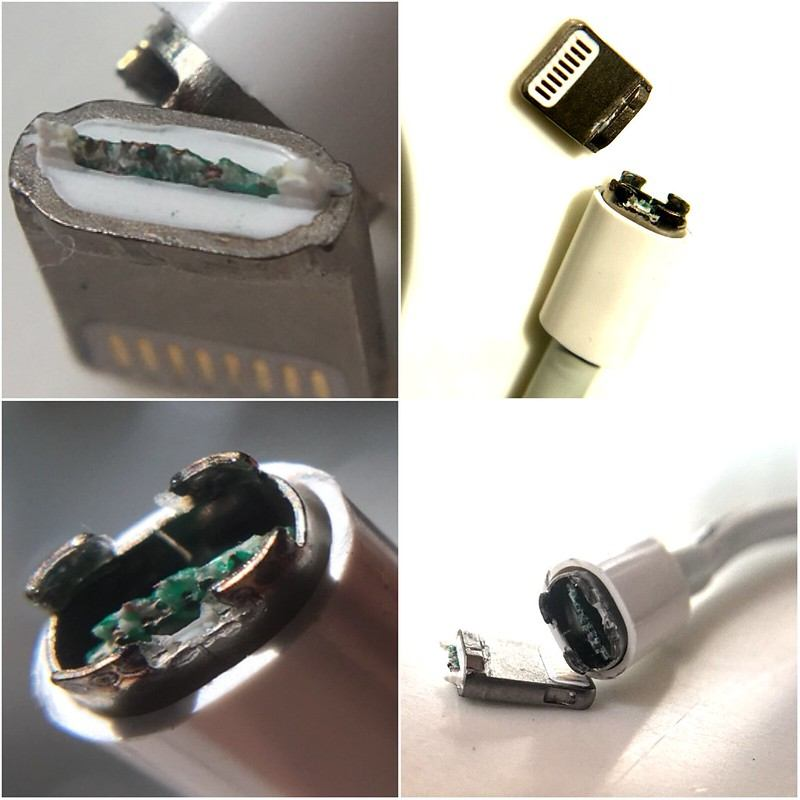 Apple iPhone charger cable showing corrosion from lightning port